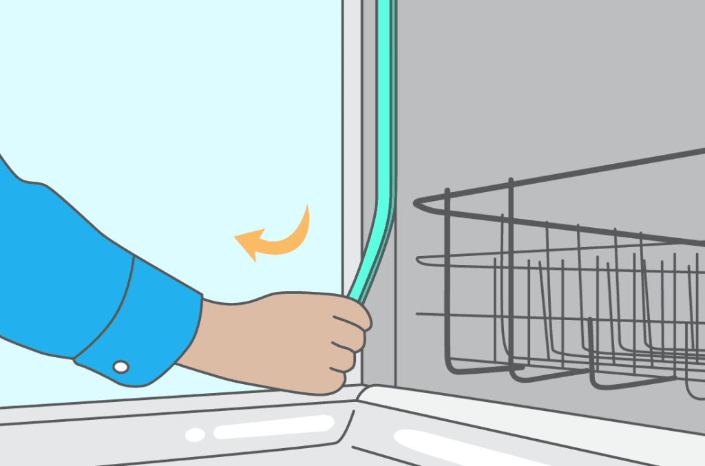 person removing a dishwasher door seal