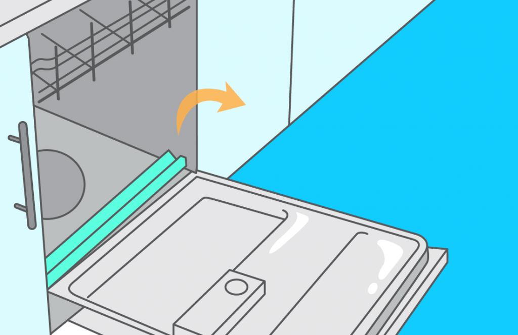 someone repairing the dishwasher lower door seal