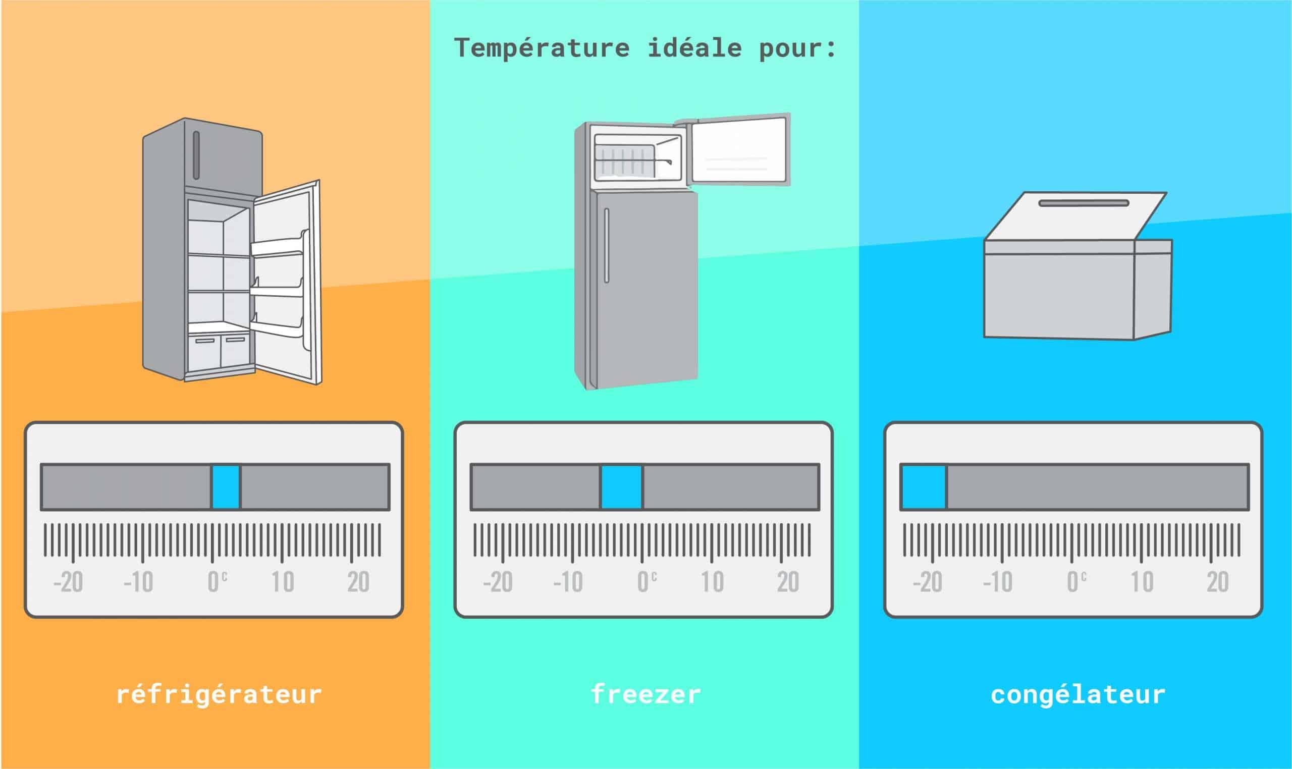 Quelle est la température idéale pour un frigo, un freezer et un congélateur ?